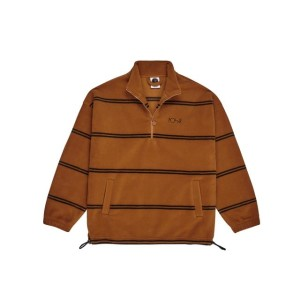 Polar - Striped Fleece Pullover - Caramel