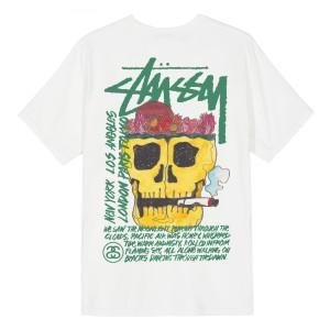 Stussy - Smokin' Skull Pig. Dyed Tee - White